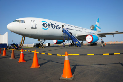 Orbis operates the Flying Eye Hospital (FEH), a fully equipped mobile teaching hospital. On the outside, the plane is like most other aircraft. Inside, it's like no other--it hosts an ophthalmic hospital and teaching facility right on board. Learn more: orbis.org (photo: Geoff Bugbee/Orbis).