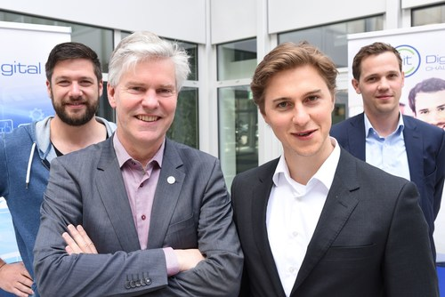 Willem Jonker (EIT Digital, second from right) and the former winners Stephan Kuhr (3Yourmind), Andreas Kunze (Konux) and Jorg Land (Tinnitracks) launch the EIT Digital Challenge 2016 (PRNewsFoto/EIT Digital)