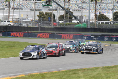 Rhys Millen Racing Hyundai Veloster Turbo Rallycross car leads pack at Daytona International Speedway