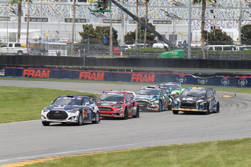 Rhys Millen Racing Hyundai Veloster Turbo Rallycross car leads pack at Daytona International Speedway ...