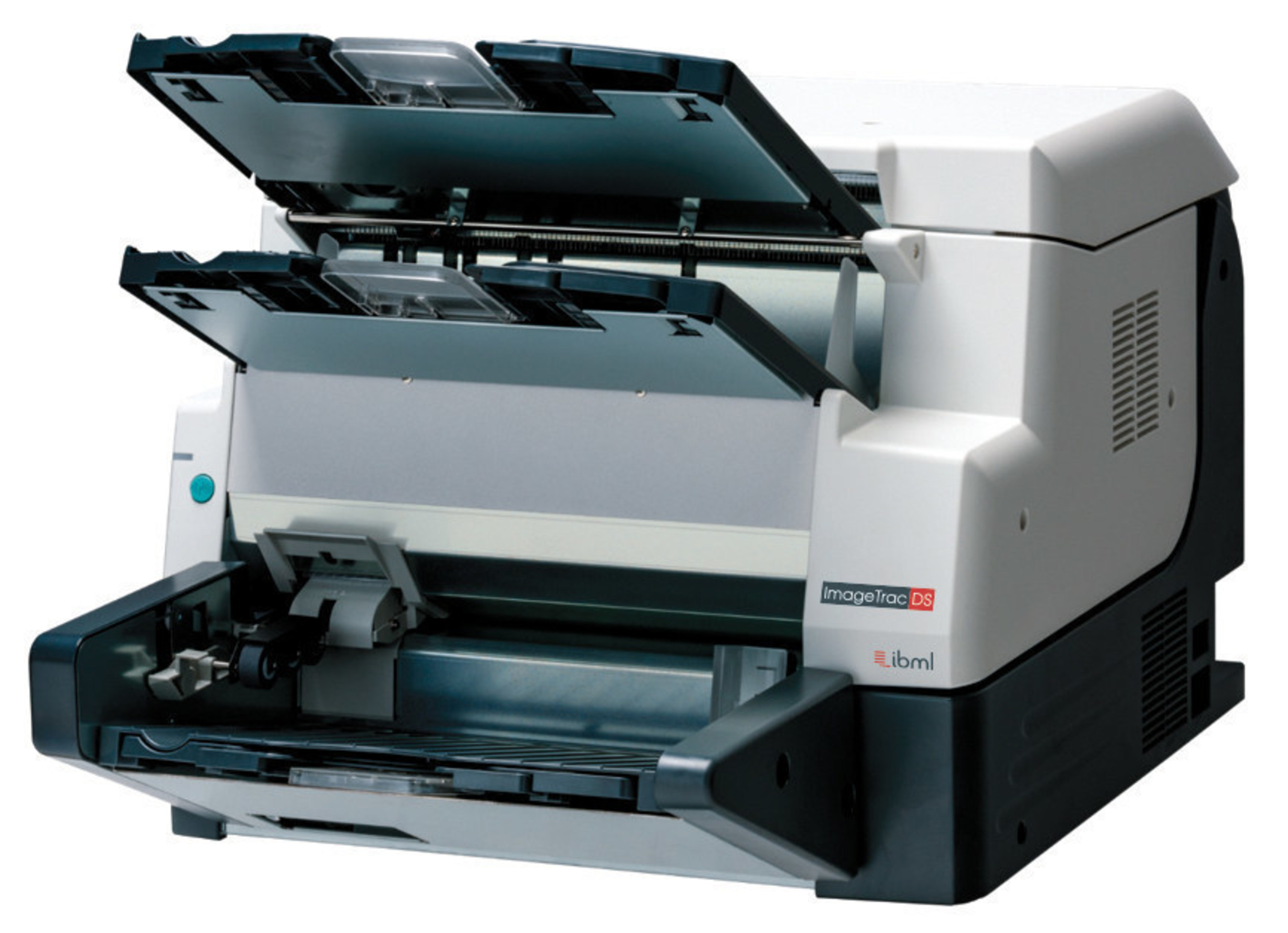 """The ImageTracDS 1210 is a desktop scanner capable of sustained processing of 18"""" ballots at 6,000 ballots per hour and small-format 2D barcoded ballots at speeds over 15,000 ballots per hour."""
