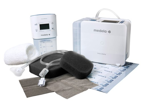 Medela's Invia(R) LibertyTM and single-patient-use Invia(R) Motion NPWT systems including dressing kit (PRNewsFoto/Medela AG)