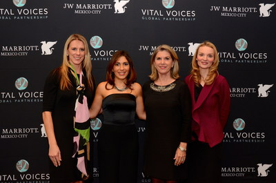 L-R: Mitzi Gaskins, VP & Global Brand Manager, JW Marriott Hotels & Resorts; Belen Alonso, Director of Sales, JW Marriott Hotel Mexico City & VV GROW Mentor; Kathleen Matthews, Chief Global Communications and Public Affairs Officer, Marriott International; Alyse Nelson, Vital Voices President & CEO.