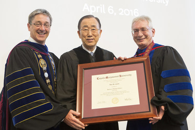 Loyola Marymount University awarded an honorary Doctor of Humane Letters degree to UN Secretary-General Ban Ki-moon, pictured with LMU President Timothy Law Snyder, Ph.D., (left), and Joseph Hellige, executive vice president and provost.