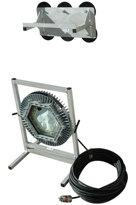The EPL-MB-161M-100 magnetic mount explosion proof LED light provides 8,000 square feet of work area coverage with 10,000 lumens of light output. This portable LED light is mounted to a spun aluminum base and has an LED light head measuring 16 inches in diameter. This unit includes a magnetic mounting attachment that allows mounting the fixture to metallic surfaces for added versatility and easy setup. The LED light head on this unit produces a brilliant flood pattern of light that is ideal for illuminating enclosed areas and hazardous locations where flamable vapors, gases and dusts may be present.  (PRNewsFoto/Larson Electronics)