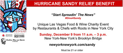 Vegas Restaurants Support Hurricane Sandy Victims @ NY-NY's Brooklyn Bridge 12/9.  (PRNewsFoto/Red Cross of Southern Nevada)