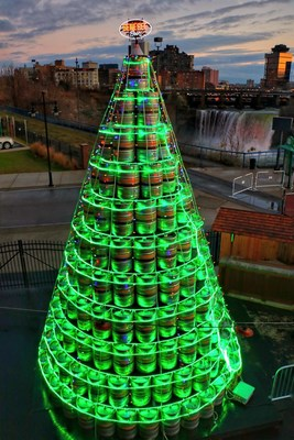 The Genesee Brewery, New York State's oldest brewery, kicked off the holiday season by unveiling a two-story Christmas tree, constructed of 428 empty beer kegs, outside its Genesee Brew House in Rochester, New York. Photo Credit: John Kucko