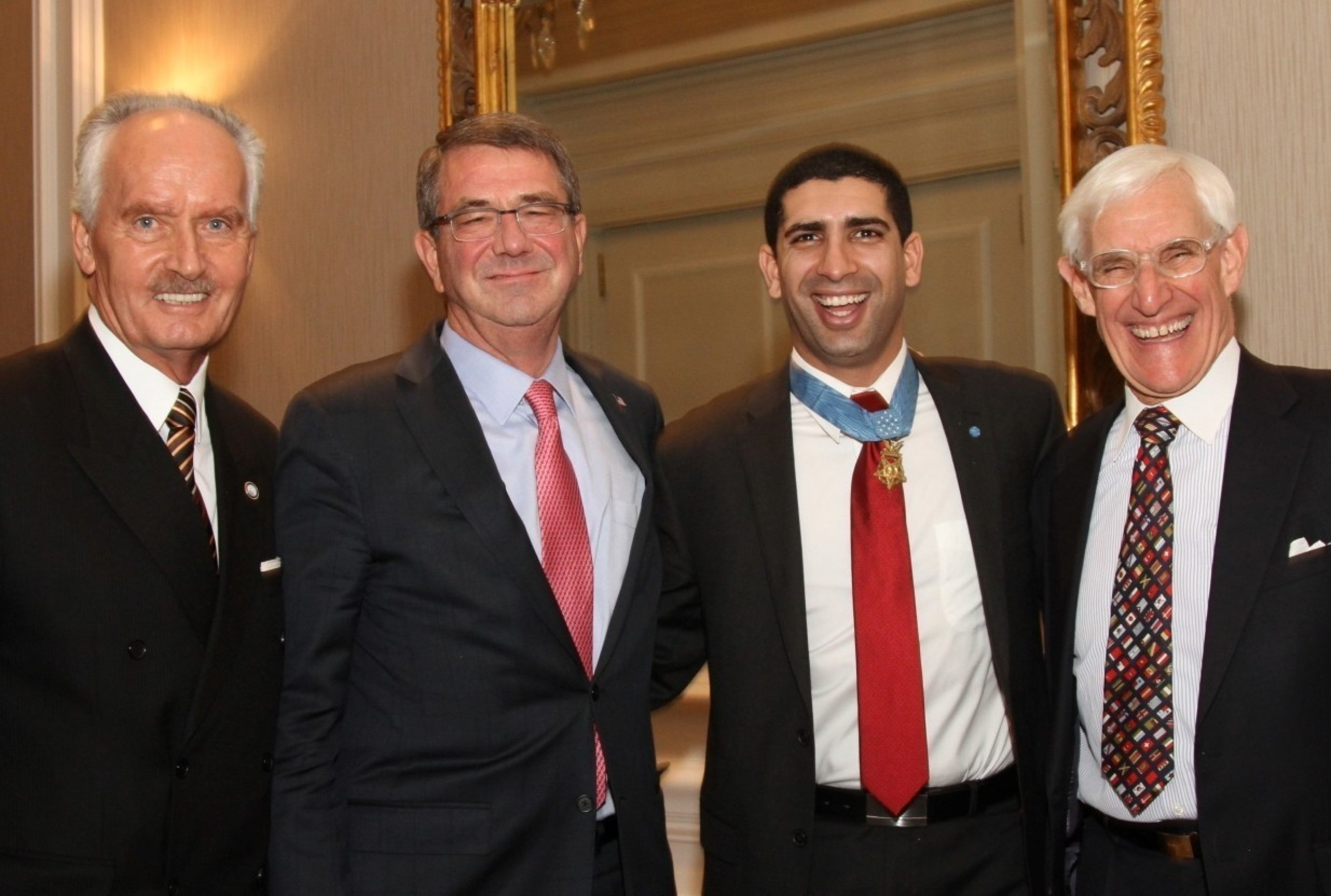 Tony Culley-Foster, President & CEO of the World Affairs Council-DC; The Hon. Ash Carter, US Secretary of Defense; Capt. Florent Groberg, Medal of Honor Recipient; and Patrick Gross, Founding Chairman of the World Affairs Council-DC. *Credit: Focused Images*