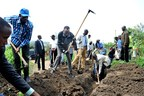 """President Kagame, who regularly join villagers in community work, has said communities should work together to """"build the things we need."""" """"No one else will do it for us."""" (PRNewsFoto/KT Press)"""