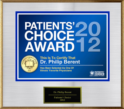 Dr. Berent Of Park Ridge, IL Has Been Named A Patients' Choice Award Winner For 2012.  (PRNewsFoto/American Registry)