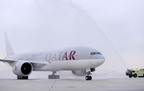 A traditional water salute welcomes Qatar Airways' inaugural flight at the Philadelphia International Airport on Wednesday, April 2, 2014, in Philadelphia. Qatar Airways is the first new international airline to introduce service to and from PHL in over a decade. (Michael Perez/AP Images for Qatar Airways).  (PRNewsFoto/Qatar Airways, Michael Perez/AP Images)