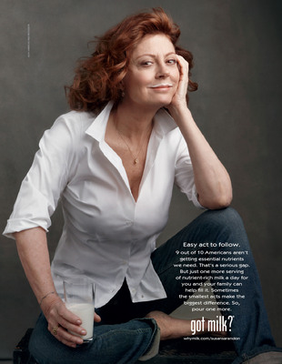"TO HELP CLOSE THE NATION'S NUTRIENT GAP, THE NATIONAL MILK MUSTACHE ""GOT MILK?""(R) CAMPAIGN IS LAUNCHING AN EDUCATION INITIATIVE TO SHOWCASE THE POWER OF ""POURING ONE MORE"" WITH THE HELP OF ACTRESS AND MOM-OF-THREE SUSAN SARANDON. SARANDON ENCOURAGES MOMS TO ""POUR ONE MORE"" SERVING OF MILK TO HELP ENSURE THEIR FAMILIES GET THE NUTRIENTS THEY NEED.  (PRNewsFoto/National Milk Mustache ""got milk?""(R) Campaign)"