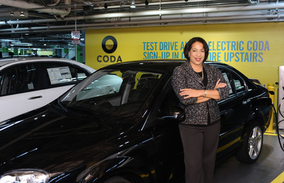 CODA Los Angeles First Customer, Carmen.  (PRNewsFoto/CODA Automotive)