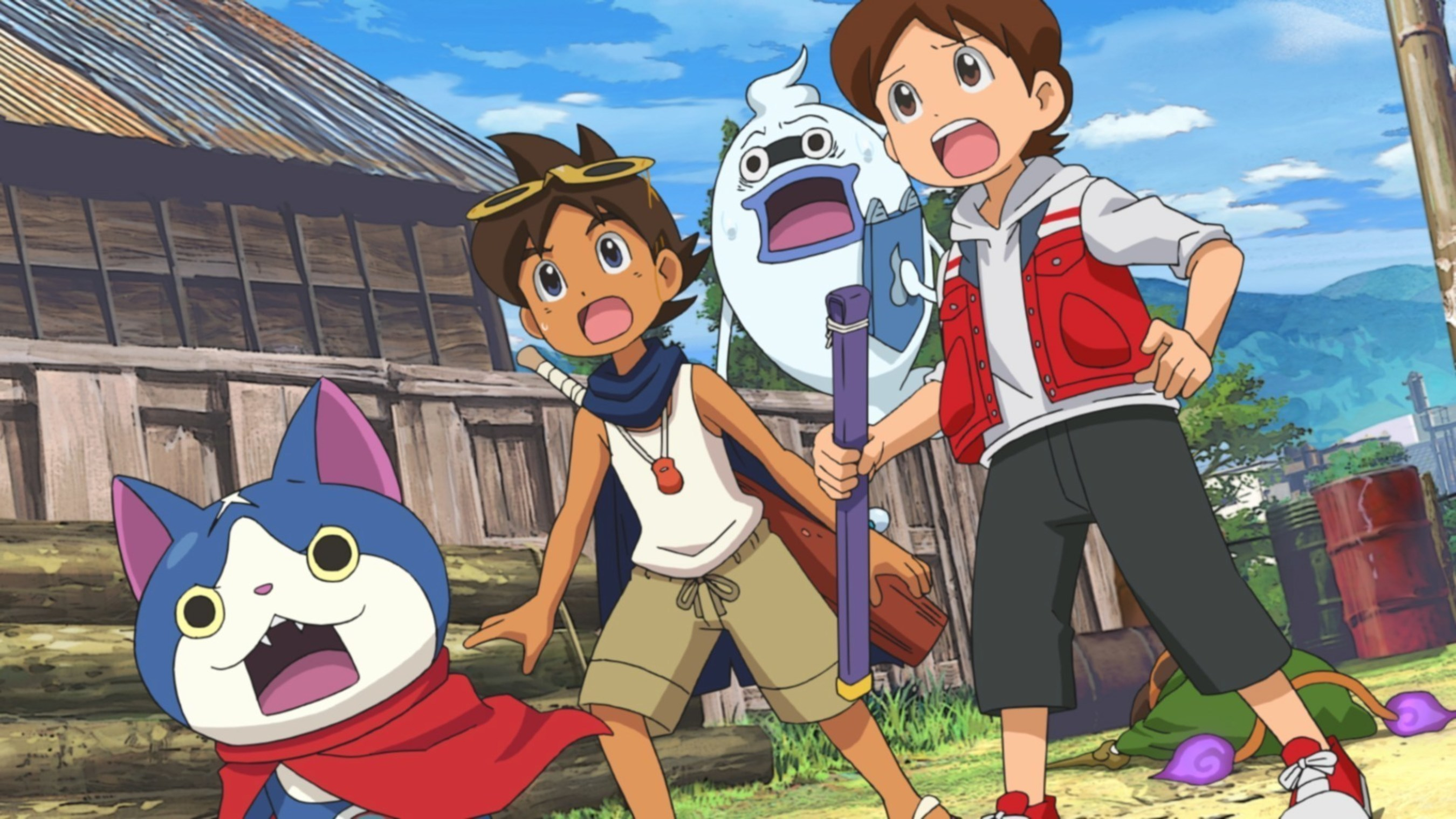 (from left) Hovernyan, Nathaniel, Whisper and Nate - who have traveled back in time - are preparing to fight evil.