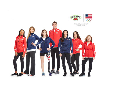 Smucker is partnering with seven Team USA athletes. From left: Allyson Felix, April Ross, Melissa Stockwell, Conor Dwyer, Ali Krieger, Aly Raisman, and Shawn Johnson.