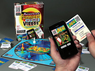 ABC's Funniest Home Video show has become the subject of a cutting-edge new video board game called a SCAN GAME. These traditional board games use QR code scanning technology to instantly add video content to game components by using a free mobile app with virtually any smart phone or tablet equipped with a camera. The show's zany video content will be featured as players try to guess the outcome of various outrageous clips that display on their mobile devices.  (PRNewsFoto/TDC Games, Inc.)