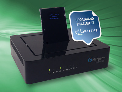 Netgem's HYBRIDGE is the first-in-market DSLTE(TM) powered Residential Gateway. Powered by Lantiq System-on-Chip integrated circuits, the gateway debuts at Broadband World Forum 2013 in Amsterdam. (PRNewsFoto/Lantiq)