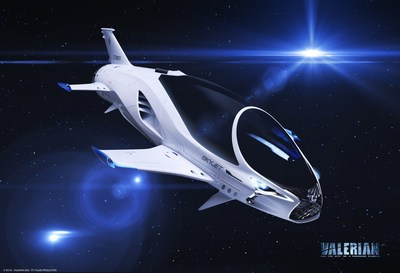 Lexus collaborated with the Valerian creative team, as they imagined and brought to life the vision for the SKYJET, a single-seat pursuit craft featured in the film. See it in the Valerian teaser trailer here: https://valerianmovie.com (PRNewsFoto/Lexus International)