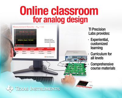 Texas Instruments (TI) today unveiled TI Precision Labs, the electronics industry's first comprehensive online classroom for analog engineers. The on-demand courses pair theory and applied lab exercises to deepen the technical expertise of experienced engineers and accelerate the development of those early in their careers. Find more information at www.ti.com/precisionlabs-pr.