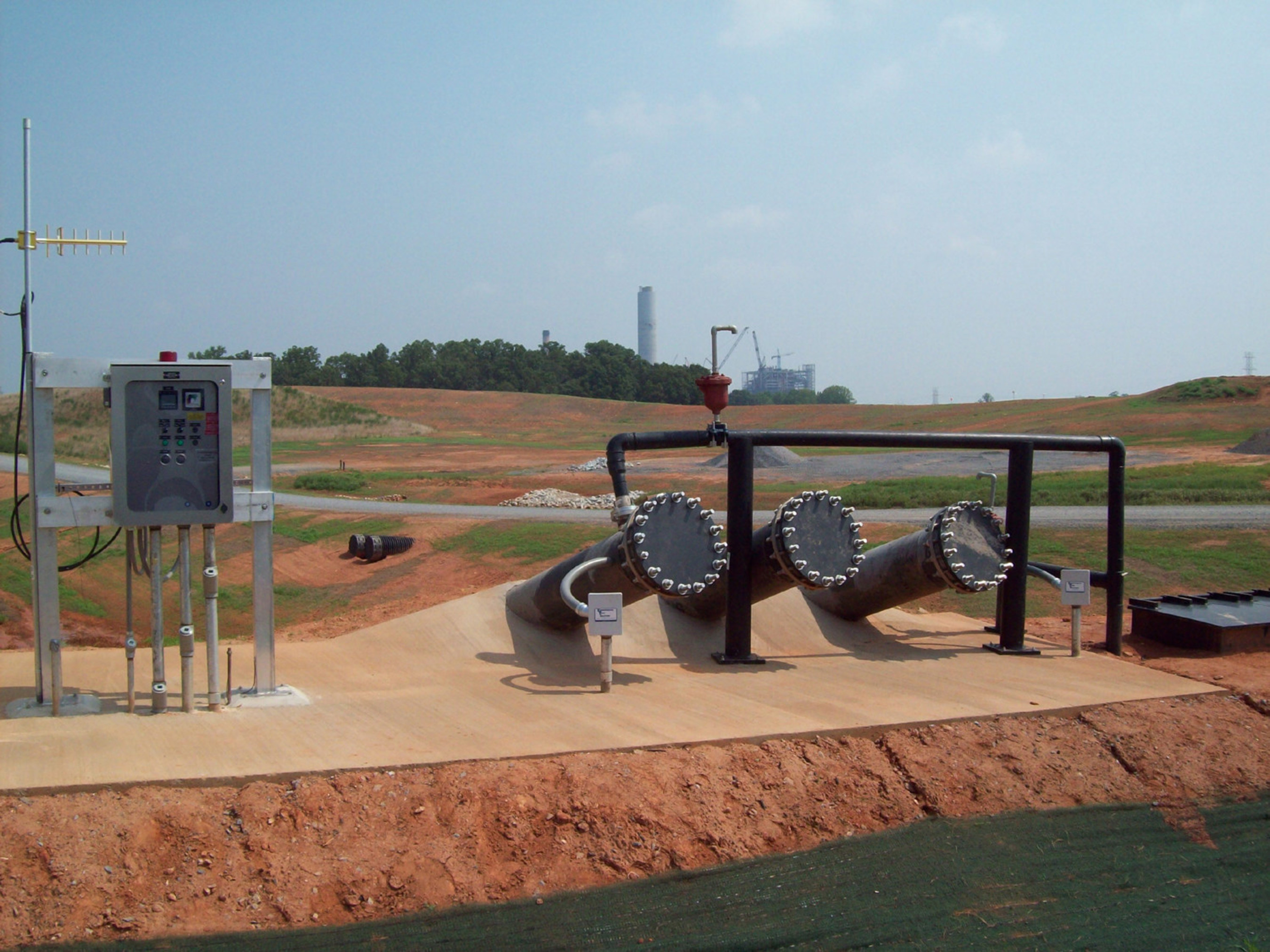 A typical landfill sloperiser pump installation with programmable control panels