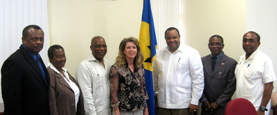 Agreement to build a WTE plant in Barbados was unanimously approved by Cabinet and signed by the Barbados Government. From left to right: Edison Alleyne (Permanent Secretary, Environment Ministry), Margot Harvey (Chairman, SSA), Dr. the Hon. Denis S. Lowe, M.P. (Environment Minister), Clare Cowan (CEO, Cahill Energy), Hon. Christopher P. Sinckler, M.P. (Minister of Finance), Hon. Denis St. E. Kellman, M.P. (Minister of Housing), Senator the Hon. Darcy W. Boyce (Minister of Energy in the Office of the Prime Minister).  (PRNewsFoto/Cahill Energy)