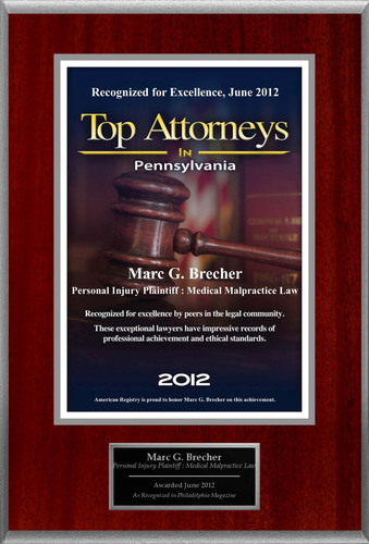 Attorney Marc G. Brecher Selected for List of Top Rated Lawyers in PA.  (PRNewsFoto/American Registry)