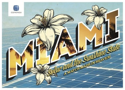 Conergy Miami postcards given out with Miami-themed Mojitos at the Greentech Media Booth (#8611) at Intersolar North America 3-5pm on Tuesday, July 14, 2015.