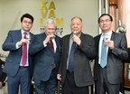 Master Blender Ian Chang, Dr. Jim Swan, Chairman Mr. T.T. Lee and CEO Mr. Y.T. Lee pour the first drop of whisky from Kavalan's newly-commissioned second distillery