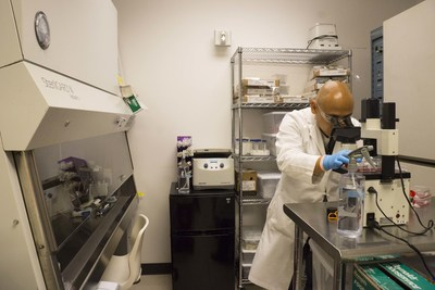 OS2966 is a monoclonal antibody developed by W. Shawn Carbonell, MD, PhD, Founder and CEO of OncoSynergy (pictured) for the potential treatment of aggressive solid cancers... and possibly ebola. (Photo credit: Jackson Solway). (PRNewsFoto/OncoSynergy, Inc.)