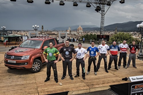 2015 Champions Trophy in Florence, Italy: the athletes on the stage with the Amarok pick-up. (PRNewsFoto/STIHL TIMBERSPORTS Series) (PRNewsFoto/STIHL TIMBERSPORTS Series)