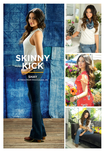 Shay Mitchell, actress from Mississauga, Ontario, CA, shows off the American Eagle Skinny Kick jean. ...