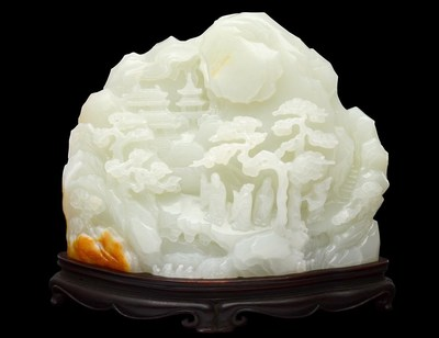 Antique white jade boulder carved to replicate figures on the path to a temple, Chinese, 4 inches tall, sold to a LiveAuctioneers bidder for $173,600 on May 12, 2014 at Auction Gallery of the Palm Beaches in West Palm Beach, Florida. Image courtesy of LiveAuctioneers Archive and Auction Gallery of the Palm Beaches (PRNewsFoto/LiveAuctioneers)