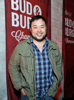SANTA MONICA, CA - APRIL 06: Chef David Chang joins Budweiser at an exclusive dinner to launch a coast-to-coast search for the official Bud & Burgers Champion on April 6, 2015 in Santa Monica, California. (Photo by John Sciulli/Getty Images for Budweiser)