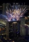 Fireworks fill the sky above SLS Las Vegas prior to Saturday's midnight opening. (PRNewsFoto/SLS Las Vegas)