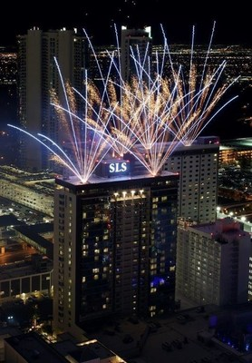 Fireworks fill the sky above SLS Las Vegas prior to Saturday's midnight opening.