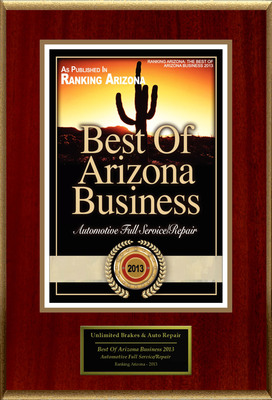 "Unlimited Brakes & Auto Repair Selected For ""Best Of Arizona Business 2013"".  (PRNewsFoto/Unlimited Brakes & Auto Repair)"