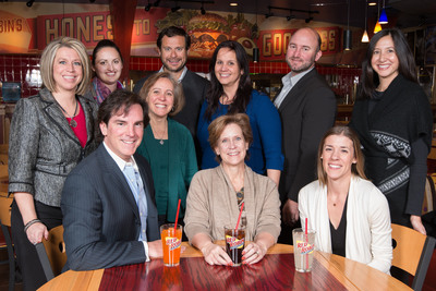 Vitro joins the Red Robin Gourmet Burgers marketing team as the casual dining brand's new national creative agency of record.  Pictured above, back row from left, Dana Benfield, Red Robin Vice President of Engagement Marketing; Tracy Keller, Vitro Account Executive; Nadine Brewer, Red Robin Insights consultant; John Hickman, Vitro Communications Director; Wendy Pinero-DePencier, Red Robin acting Vice President of Brand Marketing; Tom Carroll, Vitro Director of Client Services; and Mylene Valbuena, Vitro Media Director.  Front row, from left, Tom Sullivan, Vitro Chief Executive Officer; Denny Marie Post, Red Robin Chief Marketing Officer; and Allison McMorrow, Vitro Account Supervisor.  (PRNewsFoto/Red Robin Gourmet Burgers, Inc.)