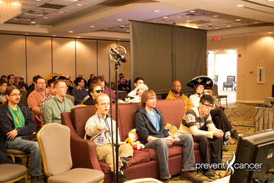 Awesome Games Done Quick (AGDQ) video game marathon participants playing to raise over $1 million for cancer prevention.  (PRNewsFoto/Prevent Cancer Foundation)