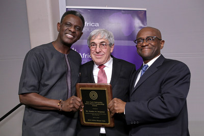 From left is Dr. Gbenga Ogedegbe, MD, MPH, FACP, Professor, Director, Division of Health and Behavior, Department of Population Health, NYU School of Medicine, Vice Dean, NYU College of Global Public Health; Stanley M. Bergman, Chairman of the Board and Chief Executive Officer of Henry Schein, Inc.; and Dr. Yaw Nyarko, Founding Director of Africa House, Director of NYU's Center for Technology and Economic Development, Co-Director of the Development Research Institute, and Professor of Economics at NYU.