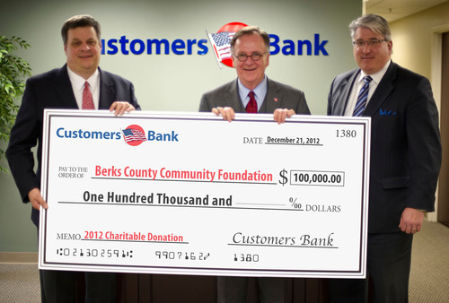 Richard Ehst (Center), President & Chief Operating Officer for Customers Bank and Timothy Romig (Right), ...