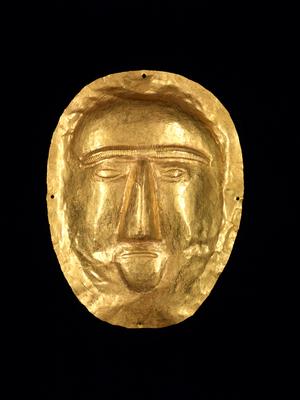Funerary Mask, 1st century CE. Saudi Arabia; Thaj, Tell al-Zayer. Gold. Courtesy of National Museum, Riyadh, ELS2012.8.231. (PRNewsFoto/Asian Art Museum)