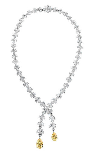 Amongst the exceptional diamond jewelry on display at the Global Investment Diamond Summit will be the 67.14 carat Mariah necklace by Scarselli Diamonds, previously worn by Mariah Carey.  Set in 18k white gold and featuring 153 white pear and marquise shape diamonds and two pear shaped fancy yellow diamonds. (PRNewsFoto/Luxurise Communications LLC)
