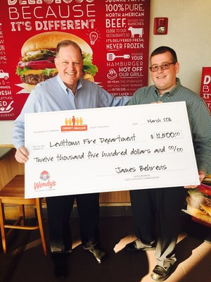 Wendy's is celebrating its employees who volunteer their time and energy to make their communities better through the Community Ambassador Grant Program. James Behrens, a District Manager in the New York area, was named the Community Ambassador of the Year for his lifelong service to the Levittown Fire Department. Nine other Wendy's employees from the company were also recognized with donations to the organizations they support.