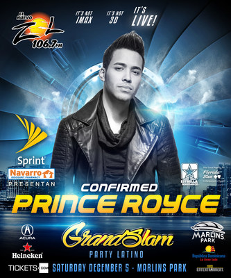 Prince Royce confirmado por Grand Slam Party Latino.