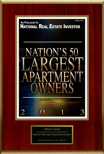 """Alliant Capital Selected For """"Nation's 50 Largest Apartment Owners"""". (PRNewsFoto/Alliant Capital)"""