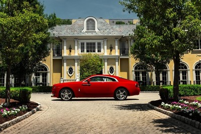 Rolls-Royce showcases a taste of its 44,000 vibrant color options offered on any Rolls-Royce Motor Car with this Bespoke Wraith in St. James Red on display at The Quail #RRPebbleBeach
