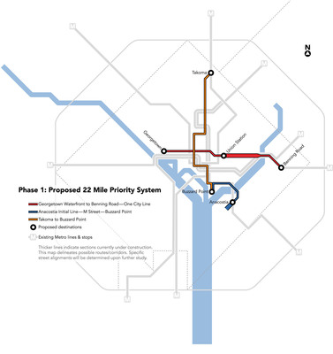 Proposed 22-mile Priority Streetcar Corridors.  (PRNewsFoto/The District Department of Transportation)
