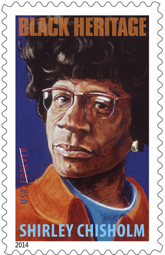 Shirley Chisholm Black Heritage Forever Stamp on sale today nationwide.  (PRNewsFoto/U.S. Postal Service)