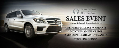 The Certified Pre-Owned Mercedes-Benz Sales event runs through Sept. 2 at Loeber Motors. (PRNewsFoto/Loeber Motors)
