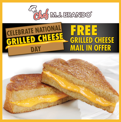 In celebration of National Grilled Cheese Day, Chef MJ Brando is offering consumers FREE grilled cheese sandwiches! Kicking off April 12th - April 30th, consumers simply log onto www.facebook.com/ChefMJBrando to view the steps required to redeem this special rebate. (PRNewsFoto/Chef MJ Brando) (PRNewsFoto/CHEF MJ BRANDO)